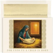 JAM Paper® Christmas Card Set, For Unto Us Holiday Cards, 18/pack