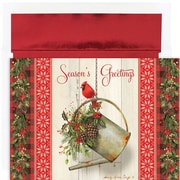 JAM Paper® Christmas Card Set, Garden Cardinal Holiday Cards, 18/pack