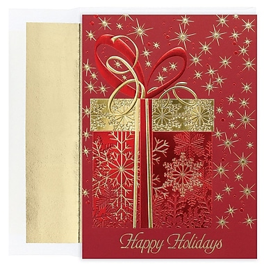 JAM Paper® Christmas Card Set, Glittering Gift Holiday Cards, 16/Pack (526M1269MB)