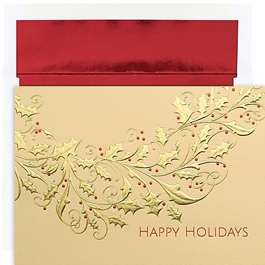 JAM Paper® Christmas Card Set, Gold Holly Holiday Cards, 16/Pack (526M1239MB)