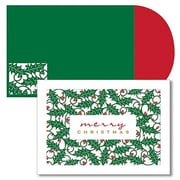 JAM Paper® Christmas Card Set, Holly Laser Cut Holiday Cards, 16/pack