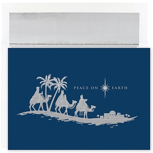 jam paper christmas card set peace on earth wisemen holiday cards