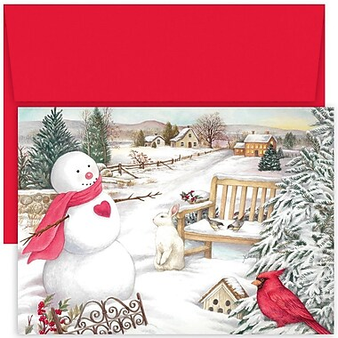 JAM Paper® Christmas Card Set, Country Snowman Holiday Cards, 18/pack