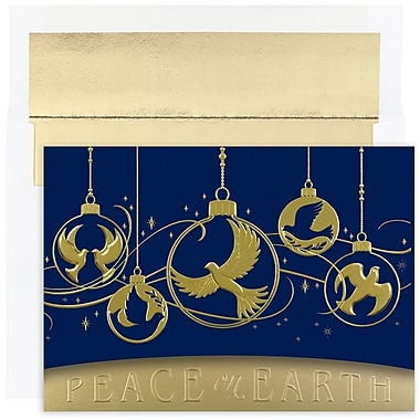 JAM Paper® Christmas Card Set, Dove Ornaments Holiday Cards, 16/Pack (526M1122MB)