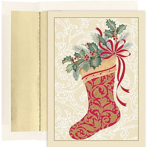 JAM Paper® Christmas Cards Set, Elegant Stocking, 16/Pack (526886200)