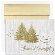 JAM Paper® Christmas Card Set, Golden Trees Holiday Cards, 16/pack