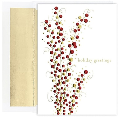 JAM Paper® Christmas Card Set, Holiday Berry Branch Holiday Cards, 16/Pack (526M1138MB)