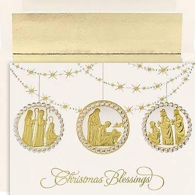 JAM Paper® Christmas Card Set, Holy Ornaments Holiday Cards, 16/Pack (526M1199MB)