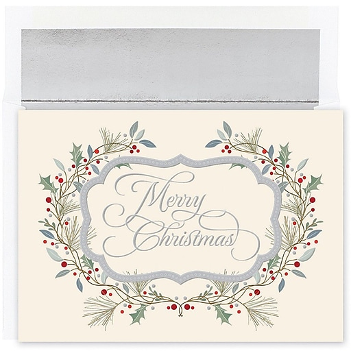 Shop Staples For JAM Paper® Christmas Card Set, Merry