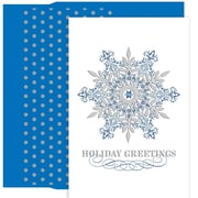 JAM Paper® Christmas Card Set, Ornate Snowflake Holiday Cards, 18/pack