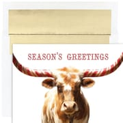 JAM Paper® Christmas Card Set, Peppermint Longhorn Holiday Cards, 18/pack