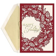 JAM Paper® Christmas Card Set, Pinecone Wreath Holiday Cards, 12/pack