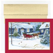 JAM Paper® Christmas Card Set, Sleigh Bells Holiday Cards, 18/pack