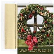 JAM Paper® Christmas Card Set, Western Wreath Holiday Cards, 18/pack