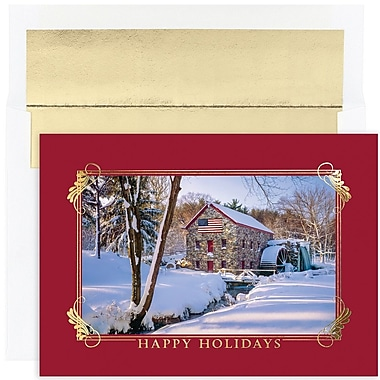JAM Paper® Christmas Card Set, Winter Mill Scene Holiday Cards, 16/pack