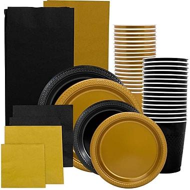 JAM Paper® Party Supply Assortment, Black & Gold Grad Pack, Plates, Napkins, Cups & Tablecloths (225PP2BLGL)