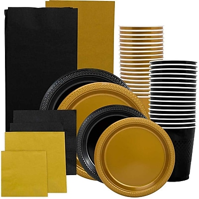 JAM Paper Party Supply Assortment, Black & Gold Grad Pack, Plates, Napkins, Cups & Tablecloths, 12 Total
