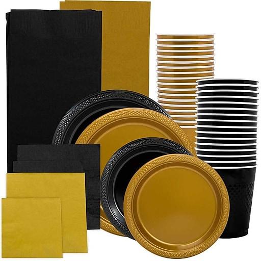 JAM Paper® Party Supply Assortment, Black & Gold, Plates (2 Sizes), Napkins (2 Sizes), Cups & Tablecloths, 12/Set (225PP2blgl)