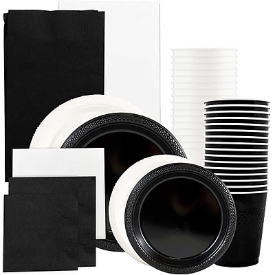 JAM Paper® Party Supply Assort, Black & White Grad Pack, Plates (2 Sizes), Napkins (2 Sizes), Cups & Tablecloths, 12 Total