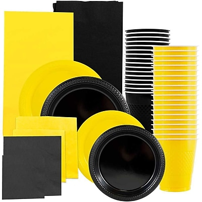 JAM Paper® Party Supply Assort, Black & Yellow Grad Pack, Plates (2 Sizes), Napkins (2 Sizes), Cups & Tablecloths, 12 Total