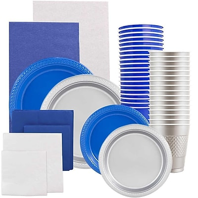 JAM Paper® Party Supply Assort, Blue & Silver Grad Pack, Plates (2 Sizes), Napkins (2 Sizes), Cups & Tablecloths, 12 Total