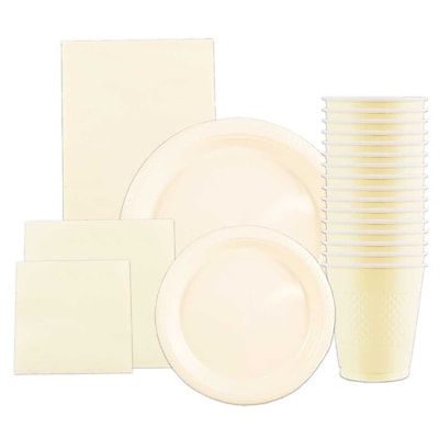 JAM Paper® Party Supply Assortment, Ivory, Plates (2 Sizes), Napkins (2 Sizes), Cups (1pk) & Tablecloth (1pk), 6 Items Total