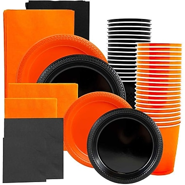 JAM Paper® Party Supply Assortment, Orange & Black Grad Pack, Plates, Napkins, Cups & Tablecloths (225PP2OBL)