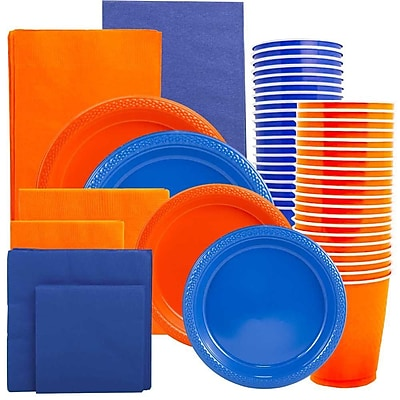 JAM Paper® Party Supply Assort, Orange & Blue Grad Pack, Plates (2 Sizes), Napkins (2 Sizes), Cups & Tablecloths, 12 Total