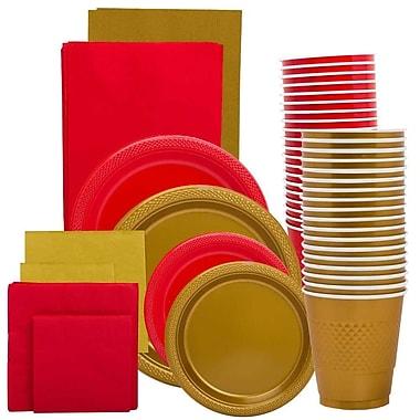JAM Paper - Ens. fête de remise des diplômes, rouge et or, assiettes, serviettes, tasses et nappes, jaune et violet (225PP2RGL)