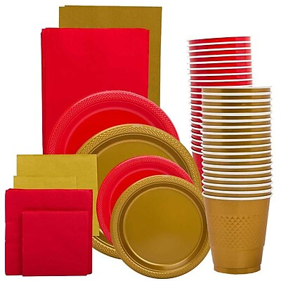 JAM Paper® Party Supply Assortment, Red & Gold Grad Pack, Plates (2 Sizes), Napkins (2 Sizes), Cups & Tablecloths, 12 Total