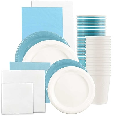 JAM Paper® Party Supply Assort, Sea Blue & White Grad Pack, Plates (2sizes), Napkins (2sizes), Cups & Tablecloths, 12 Total