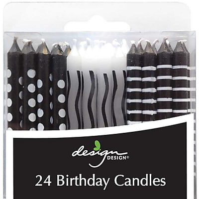 JAM Paper® Birthday Candle Sticks, Black & White Design Candles, 2 3/8