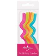 "JAM Paper® Birthday Candle Sticks, Twisted Style Candle Sticks, 3 1/8"" x 1/8"", Yellow, Fuchsia, Blue, Green, Orange, 20/pack"