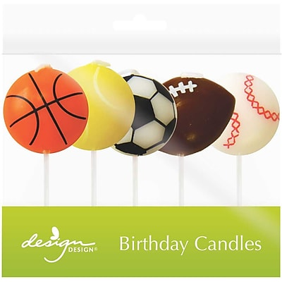 """""JAM Paper Specialty Birthday Candles, Game Time Birthday Candle Set, 2 3/4"""""""" x 1 1/4"""""""", 5/pack"""""" 2478191"