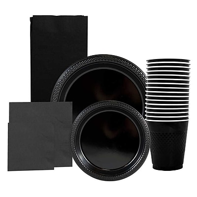 JAM Paper® Party Supply Assort, Black, Plates (2 Sizes), Napkins (2 Sizes), Cups (1 pk) & Tablecloth (1 pk), 6 Items Total