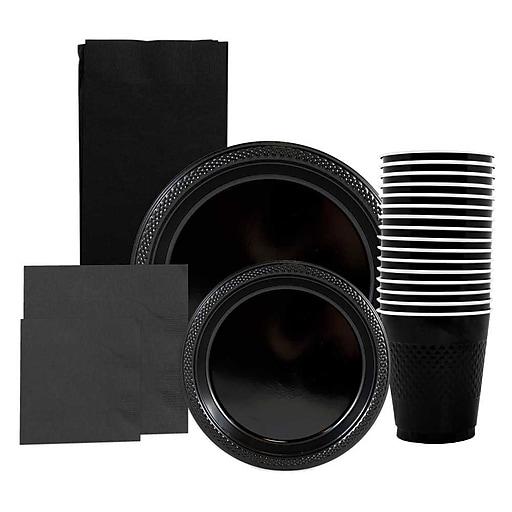 JAM Paper® Party Supply Assortment, Black, Plates (2 Sizes), Napkins (2 Sizes), Cups & Tablecloth, 6 Items/Set (255PPblk)