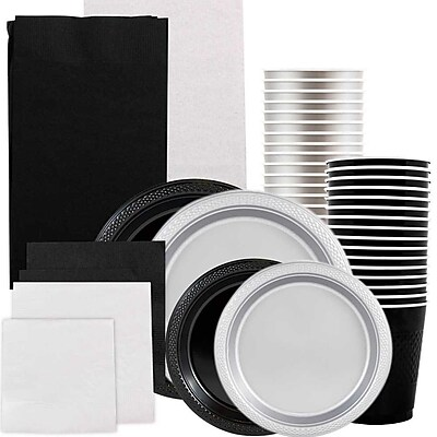 JAM Paper® Party Supply Assort, Black & Silver Grad Pack, Plates (2 Sizes), Napkins (2 Sizes), Cups & Tablecloths, 12 Total