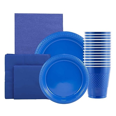 JAM Paper® Party Supply Assortment, Blue, Plates (2 Sizes), Napkins (2 Sizes), Cups (1pk) & Tablecloth (1pk), 6 Items Total