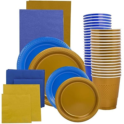JAM Paper Party Supply Assortment, Blue & Gold Grad Pack, Plates (2 Sizes), Napkins (2 Sizes), Cups & Tablecloths, 12 Total