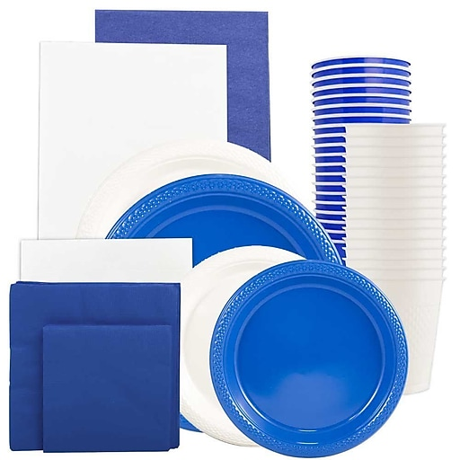 JAM Paper® Party Supply Assortment, Blue & White, Plates (2 Sizes), Napkins (2 Sizes), Cups & Tablecloths, 12/Set (225PP2bw)