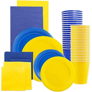 JAM Paper® Party Supply Assortment, Blue & Yellow Grad Pack, Plates, Napkins, Cups & Tablecloths (225PP2BY)