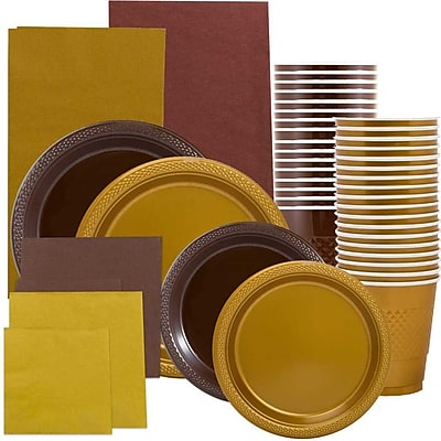JAM Paper Party Supply Assortment, Brown & Gold Grad Pack, Plates, Napkins, Cups & Tablecloths, 12 Total
