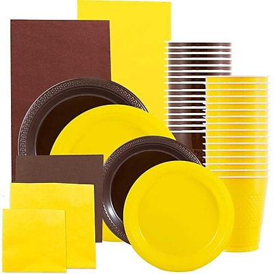 JAM Paper® Party Supply Assort, Brown & Yellow Grad Pack, Plates (2 Sizes), Napkins (2 Sizes), Cups & Tablecloths, 12 Total