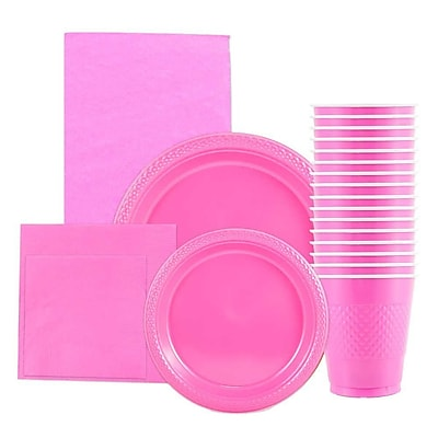 JAM Paper® Party Supply Assort, Hot Pink, Plates (2 Sizes), Napkins (2 Sizes), Cups (1pk) & Tablecloth (1pk), 6 Packs Total