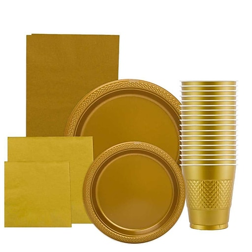 JAM Paper® Party Supply Assortment, Gold, Plates (2 Sizes), Napkins (2 Sizes), Cups & Tablecloth, 6 Items/Set (255PPgld)