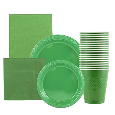 JAM Paper Party Supply Assortment, Green, Plates (2 Sizes), Napkins (2 Sizes), Cups (1pk) & Tablecloth (1pk), 6 Items Total 2478254