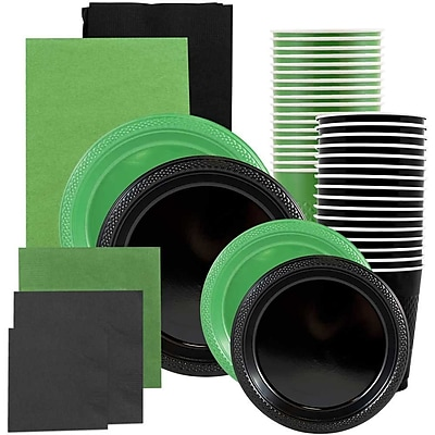 JAM Paper® Party Supply Assort, Green & Black Grad Pack, Plates (2 Sizes), Napkins (2 Sizes), Cups & Tablecloths, 12 Total