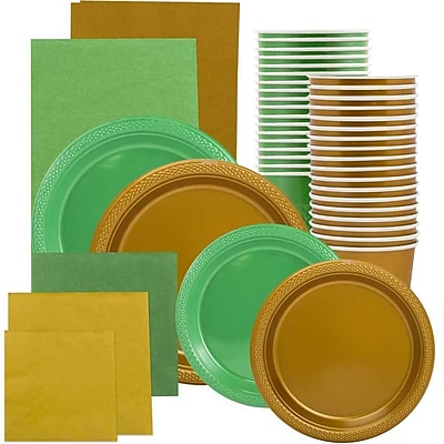 JAM Paper Party Supply Assortment, Green & Gold Grad Pack, Plates, Napkins, Cups & Tablecloths, 12 Total