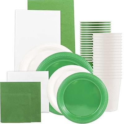 JAM Paper® Party Supply Assort, Green & White Grad Pack, Plates (2 Sizes), Napkins (2 Sizes), Cups & Tablecloths, 12 Total
