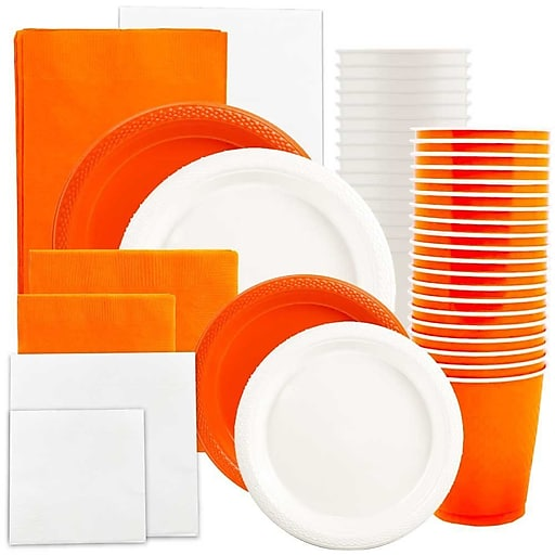JAM Paper® Party Supply Assortment, Orange & White, Plates (2 Sizes), Napkins (2 Sizes), Cups & Tablecloths, 12/Set (225PP2ow)